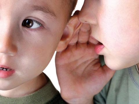 Das Foto zeigt den Ausschnitt von zwei Kindergesichtern im Alter von ca. 4 Jahren. Eines der Kinder flüstert dem anderen mit vorgestreckter Hand etwas ins Ohr.